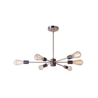"Woodbridge Lighting 16116-ST64 Ethan 31 1/2"" Wide 6 Light Sputnik Style Abstract Single Tier Chandelier with Vintage Bulbs"