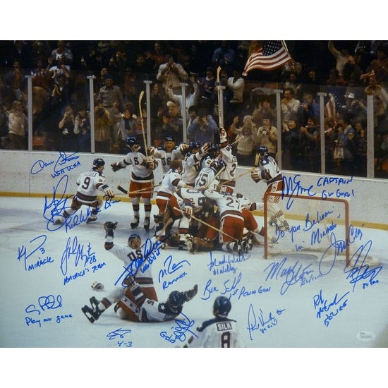 1980 USA Hockey Miracle on Ice Autographed Size 16x20 Photo 17 Sigs inscriptions JSA