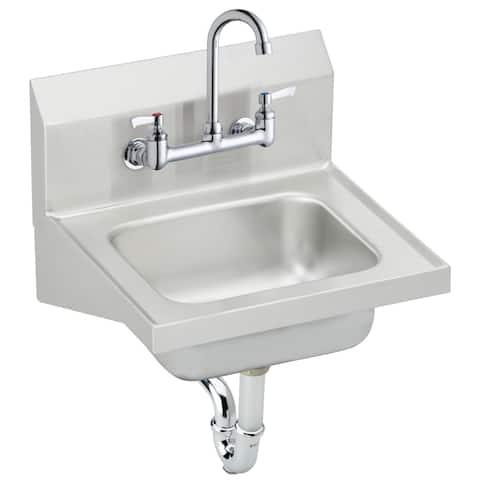 """Elkay CHS1716C Stainless Steel 16-3/4"""" x 15-1/2"""" Wall Mounted Handwash Sink Package"""
