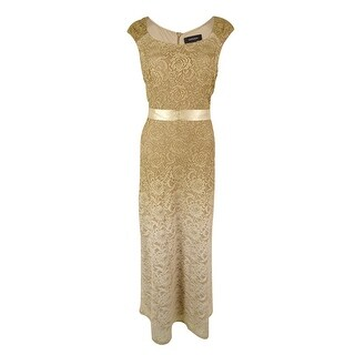 R&M Richards Women's Ombre Lace Maxi Dress - Gold