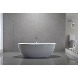 Vanity Art 55 Inch Freestanding White Acrylic Bathtub Stand Alone 55 On Sale Overstock 26428861