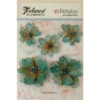 Petaloo P1133-10 Textured Elements Jeweled Flowers - Teal