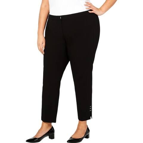 Calvin Klein Womens Straight Leg Pants Studded Split Him - Black