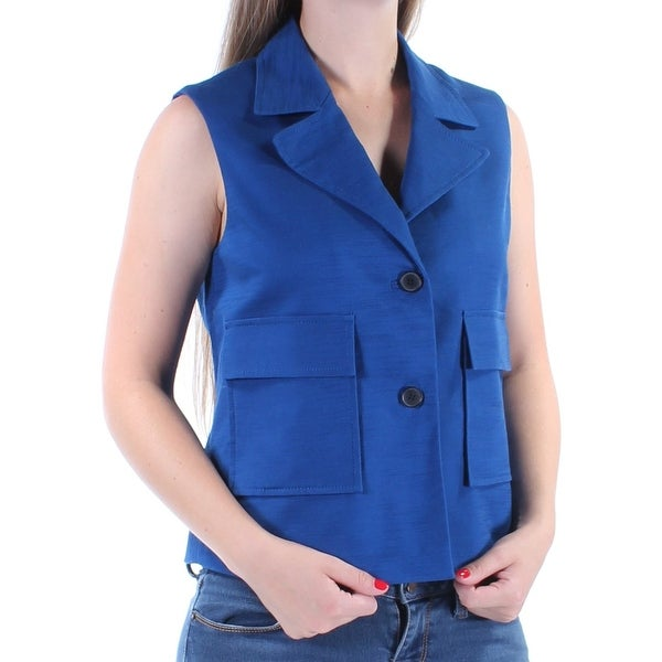 ANNE KLEIN Womens Blue Pocketed Sleeveless Collared Vest Top Size: 6