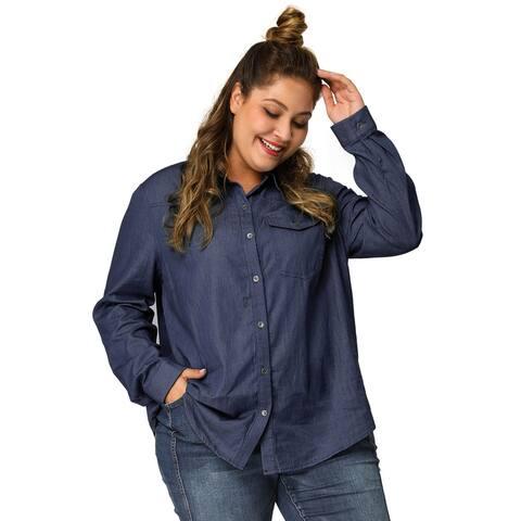 Agnes Orinda Women's Plus Size Long Sleeve Denim Chambray Shirt