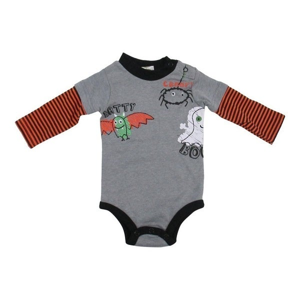 "Baby Girls Grey Striped Layered Sleeve ""Batty Creepy Boo"" Print Bodysuit 12-24M"