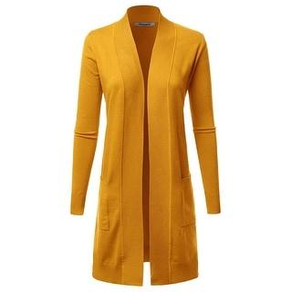 FASHIONOMIC Women's Solid Soft Stretch Long-Line, Cllc003-mustard, Size Medium