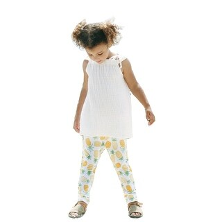 JAEA Kids Little Girls Yellow Little Yogi Penny & Pineapple Leggings