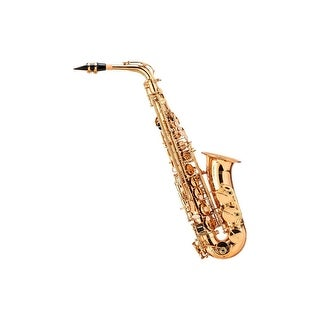 Monoprice Brass Eb Alto Saxophone Outfit with #2 Reeds 3-pack, Music Stand
