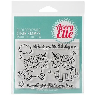 """Avery Elle Clear Stamp Set 4""""X3""""-Pegasus Duo"""