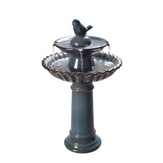 Link to Patricia 27-inch Double-tiered 2-tone Ceramic Birdbath Similar Items in Outdoor Decor