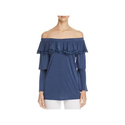 Love Scarlett Womens Knit Top Pom Pom Trim Off-The-Shoulder