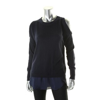 Aqua Womens Sweater Cold Shoulder Tunic (Option: Black)