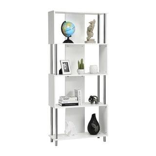 Costway 4-Tier Bookcase Modern Display Shelf Organizer Snaking Storage Rack White