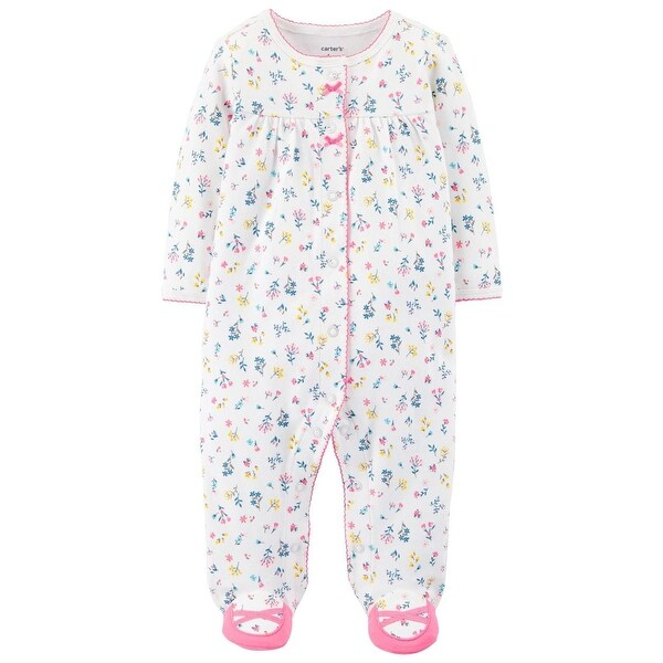 Carters Girls 0-9 Months Floral Sleep And Play - White