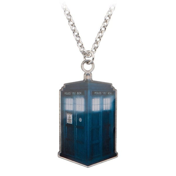 Dr. Who Photo Printed Stamp Cut Tardis Necklace - Blue