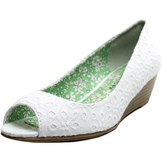 CL By Laundry Hartley Women Open Toe Canvas Wedge Heel