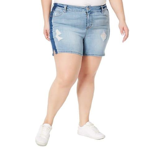 Celebrity Pink Womens Shorts Blue Size 16 Distressed Side Stripe Denim