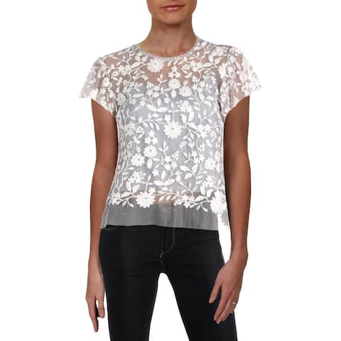 Aqua Womens Pullover Top Embroidered Short Sleeves