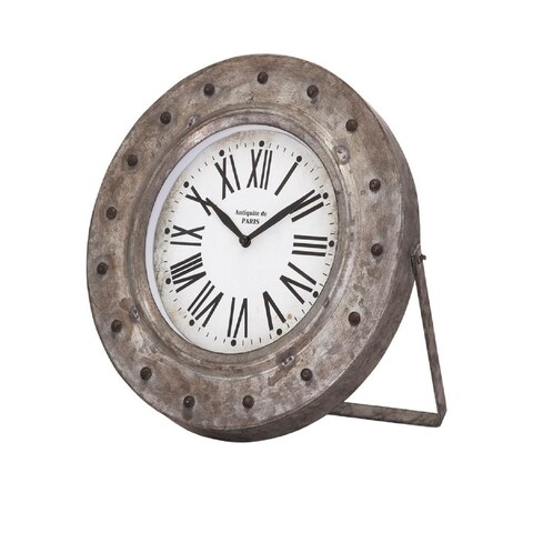 11.5 White and Black Distressed Iron Back in Time Galvanized Desk Clock