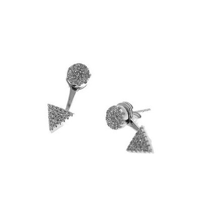 925 Sterling Silver Cluster Stud With Triangle Earjacket