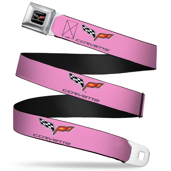 C6 Logo Repeat Pink Black Webbing Seatbelt Belt Fashion Belt