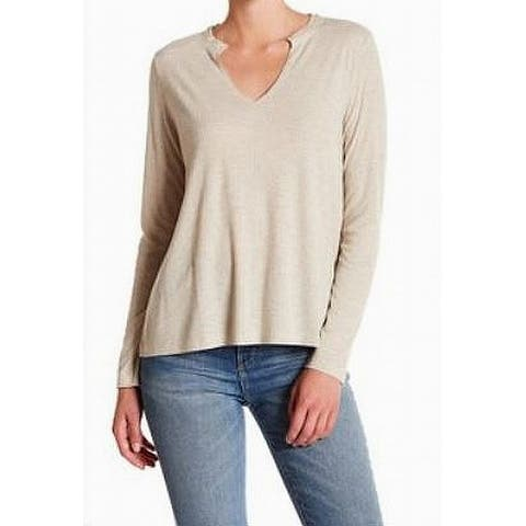 Abound Oatmeal Beige Women's Size Large L Ribbed Split-Neck Knit Top