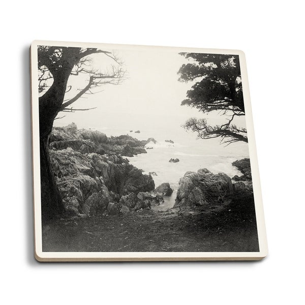 Carmel CA Monterey Bay 17 Mile Dr - Vintage Photo (Set of 4 Ceramic Coasters)