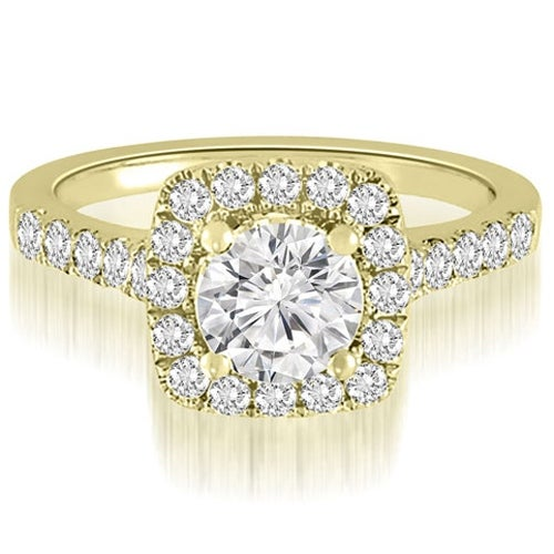 1.52 cttw. 14K Yellow Gold Halo Round Cut Diamond Engagement Ring