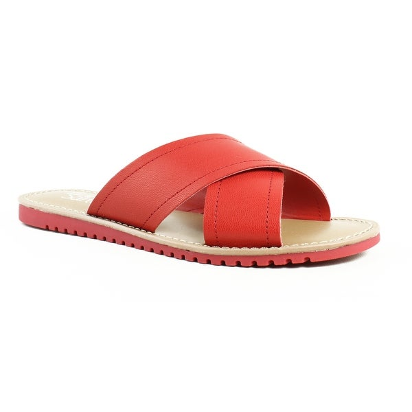 5a4506f524db2 Shop Franco Sarto Womens L-Quentin Red Slides Size 6 - Free Shipping ...