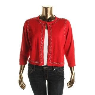 Calvin Klein Womens Plus Embellished 3/4 Sleeves Shrug Sweater - 2X