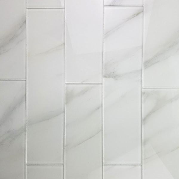 "Miseno MT-WHSWTJ0416-CA Nature - 4"" x 16"" Rectangle Wall Tile - Semi-Gloss Visual - White"
