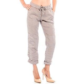 True Religion Women's Linen Cargo Pants in Almond
