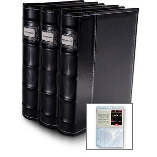 Bellagio-Italia Black Leather CD/DVD Binder 3 Pack with Bonus Insert Sheets
