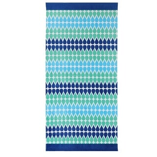 ClaireBella Drops Moonlight Bamboo Design Cotton Beach Towel, Green-Blue, 36x72 Inches - Blue/Green