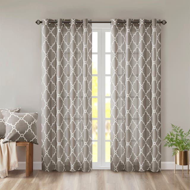 "Madison Park Westmont Fretwork Print Pattern Single Curtain Panel - 50""W X 84""L - Grey"