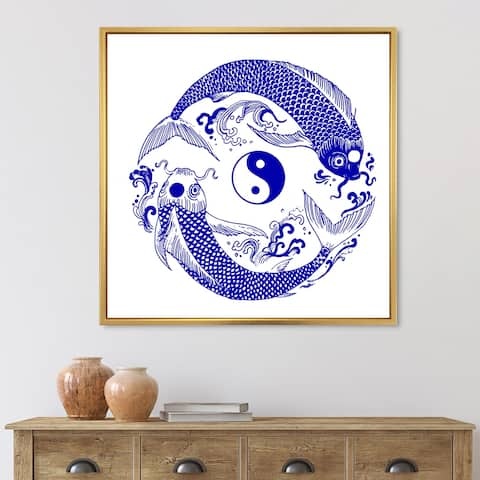 Designart 'Chinoiserie Koi Fish II' Traditional Framed Canvas Wall Art Print
