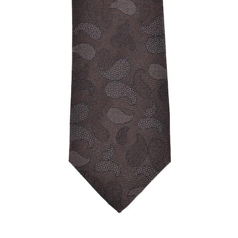 Isaia Napoli Mens Dark Brown Paisley Pattern Silk Handmade 7 Fold Tie~RTL$275 - One Size