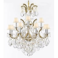 Maria Theresa Crystal Chandelier With Luxe Diamond Cut Crystals - Gold