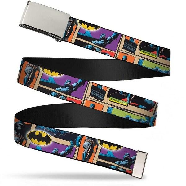 Blank Chrome Buckle Dark Knight Poses W Batman Shield Webbing Web Belt