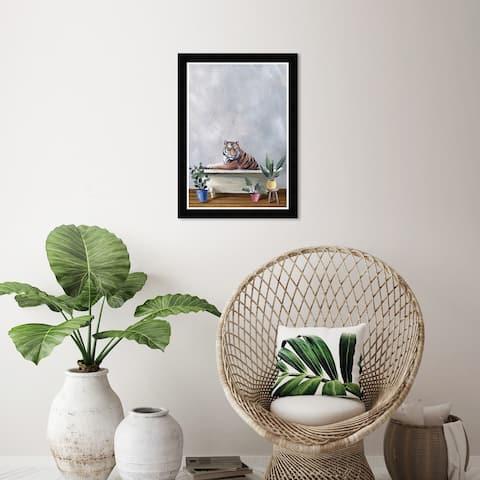 Wynwood Studio 'Tiger Bath' Bath and Laundry Wall Art Framed Print Bathtubs - Gray, White