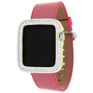 Sports Royal Woven Nylon Pink Bracelet Strap Apple Watch 38mm iOS Touch Screen