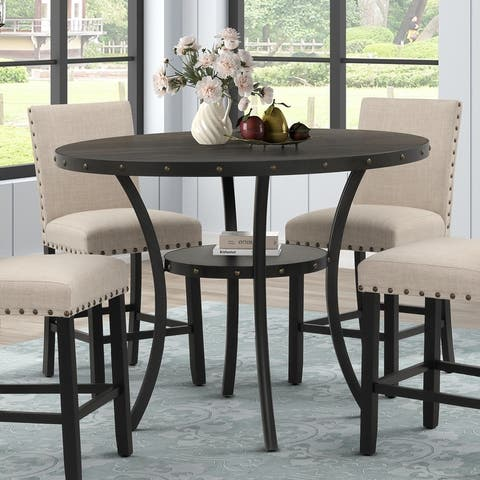 """Corvus Eleanor 48"""" Round Counter Height Dining Table with Nailhead Trim"""