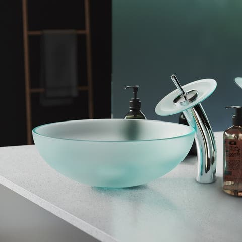Cascade 16.5 Glass Vessel Sink with Faucet