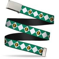 Blank Chrome Buckle Diamond Green Ranger Webbing Web Belt
