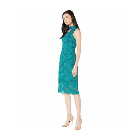 SAM EDELMAN Green Sleeveless Below The Knee Dress 0
