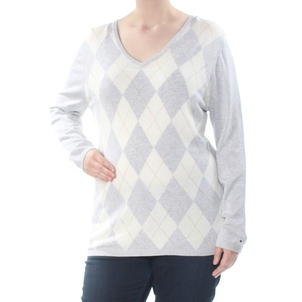 TOMMY HILFIGER Womens Gray Glitter Argyle Long Sleeve Scoop Neck T-Shirt Top Size: XXL