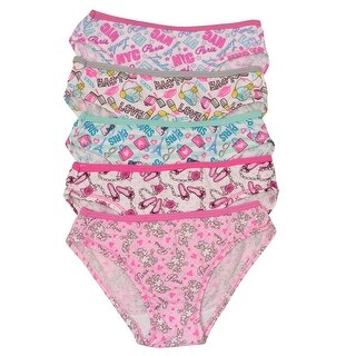 1000% Cute Little Girls Multi Paris Print 5 Piece Pack Cotton Underwear