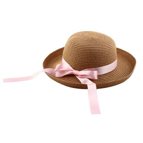 02a56cb257abad Lady Straw Braid Bowknot Decor Curling Brim Summer Beach Leisure Cap Sun Hat  #1