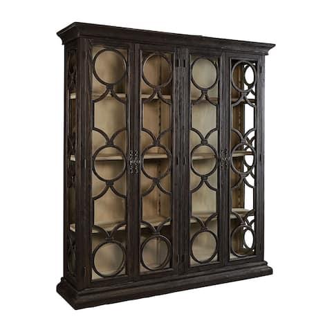 Catalina Art Deco Latticed Glass Display Cabinet, Single Width, Black